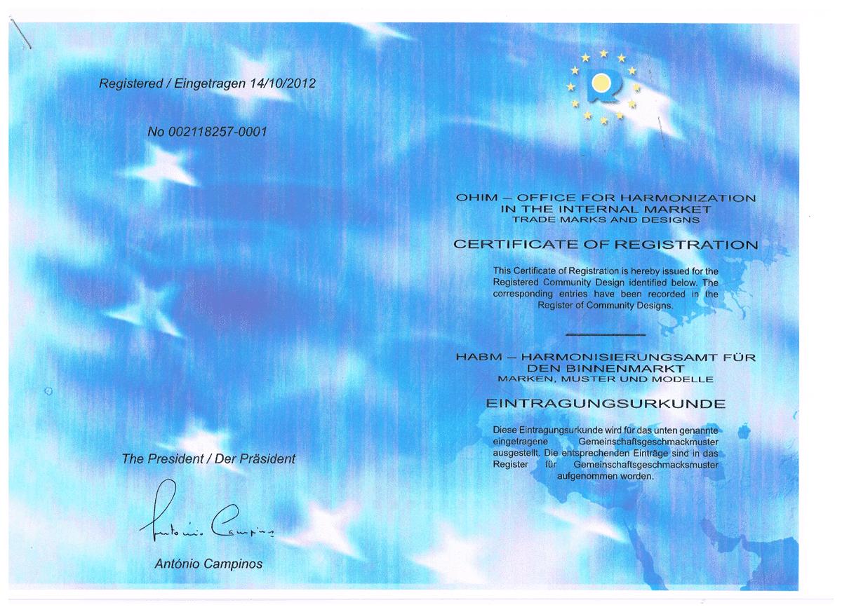 UNFO Trade marks certificate