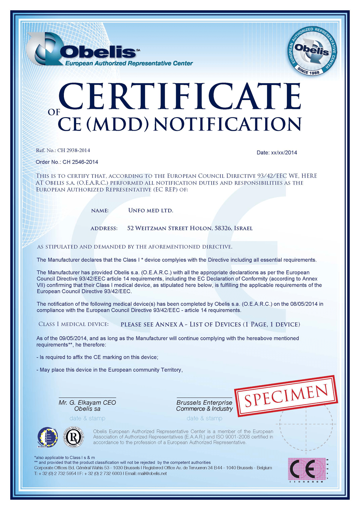 UNFO Certificate of CE Notification